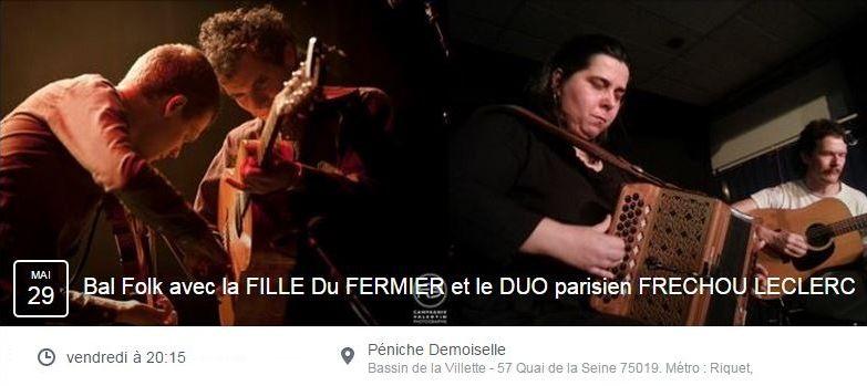 Affiche Bal folk La fille du Fermier Duo Frechou Leclerq à Paris