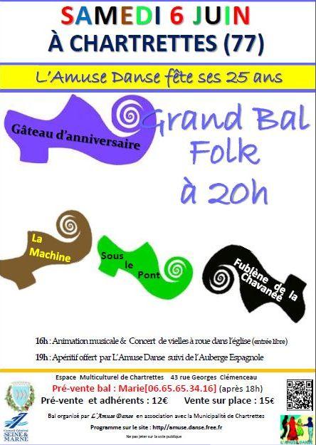 Affiche Bal folk Grand Bal des 25 ans de l'Amuse Danse à Chartrettes