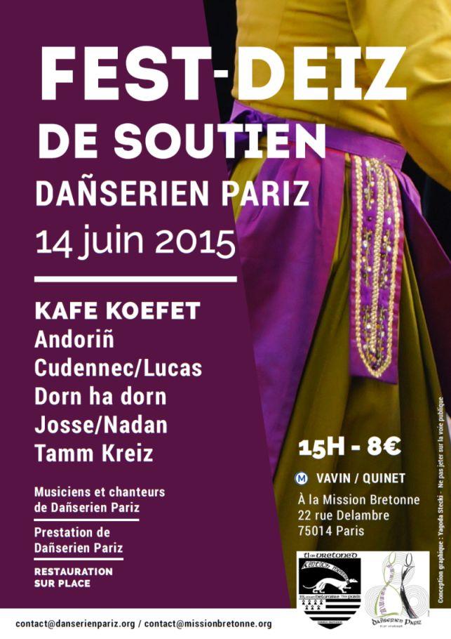 Affiche Fest-deiz fest deiz de soutien à dañserien Pariz à Paris
