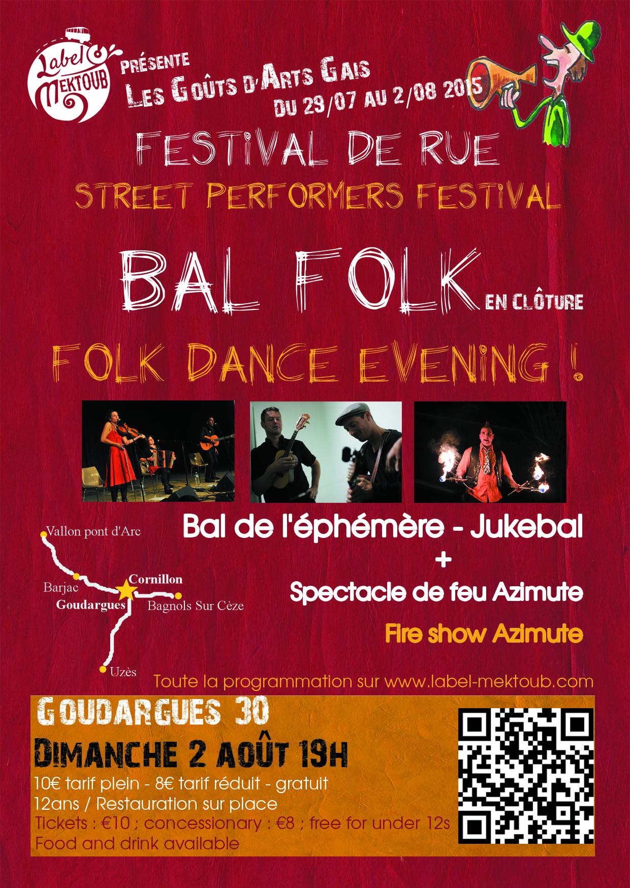 Affiche Bal folk le 2 août à 19h en clôture du festival de rue Les Goûts d'Arts Gais à Goudargues