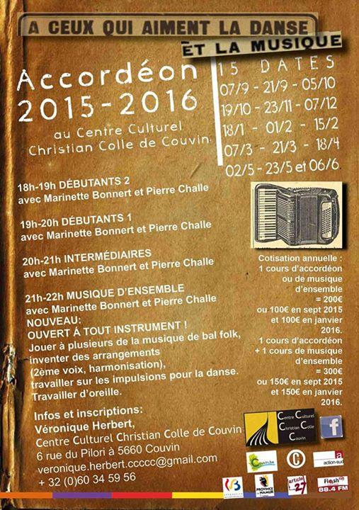 Affiche Atelier annuel accordéon diatonique et musique d'ensemble à Couvin, Belgique