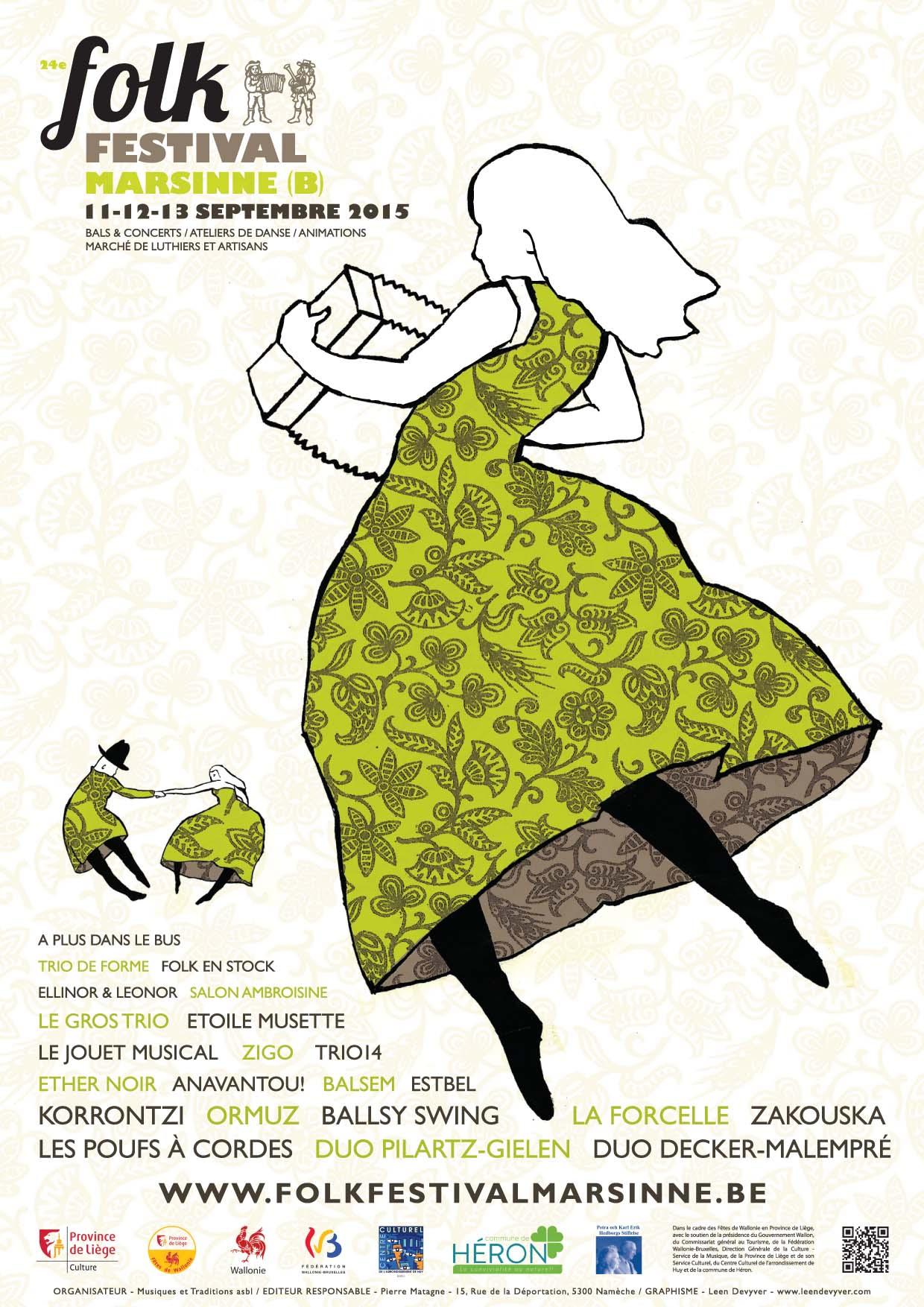 Affiche Festival 24e Folk Festival de Marsinne à Couthuin-Héron