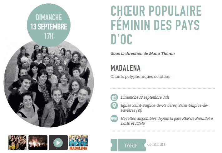Affiche Concert Madalena à Saint-Sulpice-de-Favières