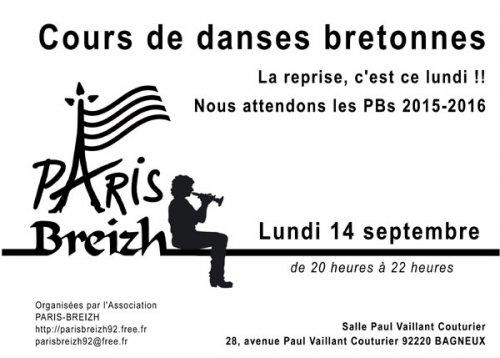Affiche Atelier annuel cours de danses bretonnes tous les lundis à Bagneux