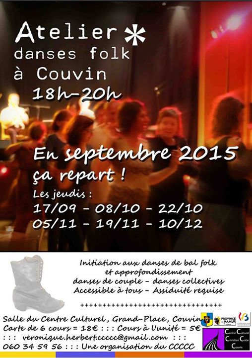 Affiche Atelier annuel danses folk à Couvin, Belgique
