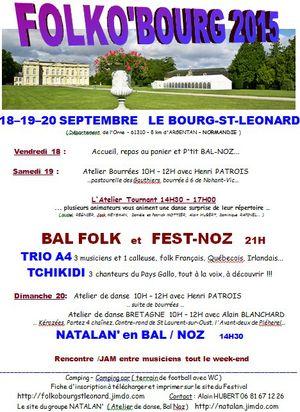 Affiche Festival Folko'bourg 2015 à Le Bourg-Saint-Léonard