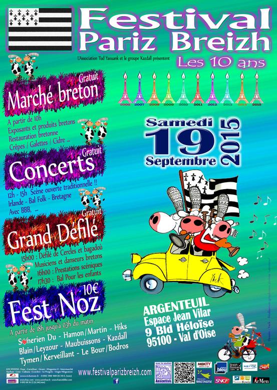 Affiche Fest-noz festival Pariz Breizh 10 ans et fest-noz 2015 d'Argenteuil à Argenteuil