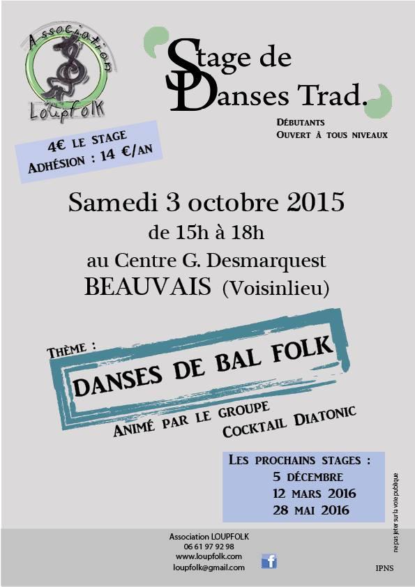 Affiche Atelier annuel stage de danses de bal folk à Beauvais