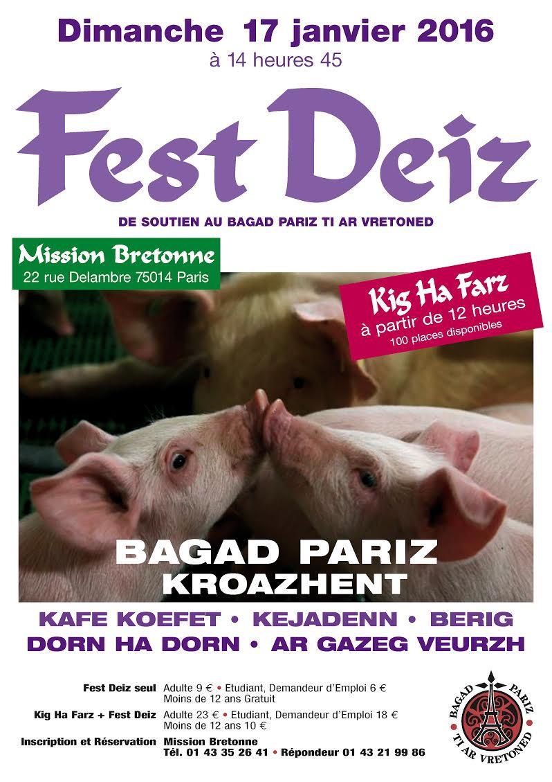 Affiche Fest-deiz soutien au Bagad Pariz TAV à Paris