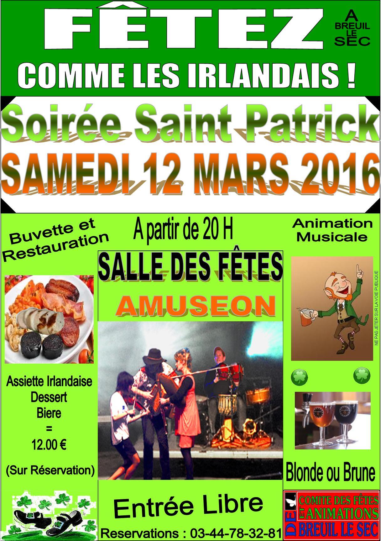 Affiche Animation repas et bal de la Saint Patrick à Breuil-le-Sec