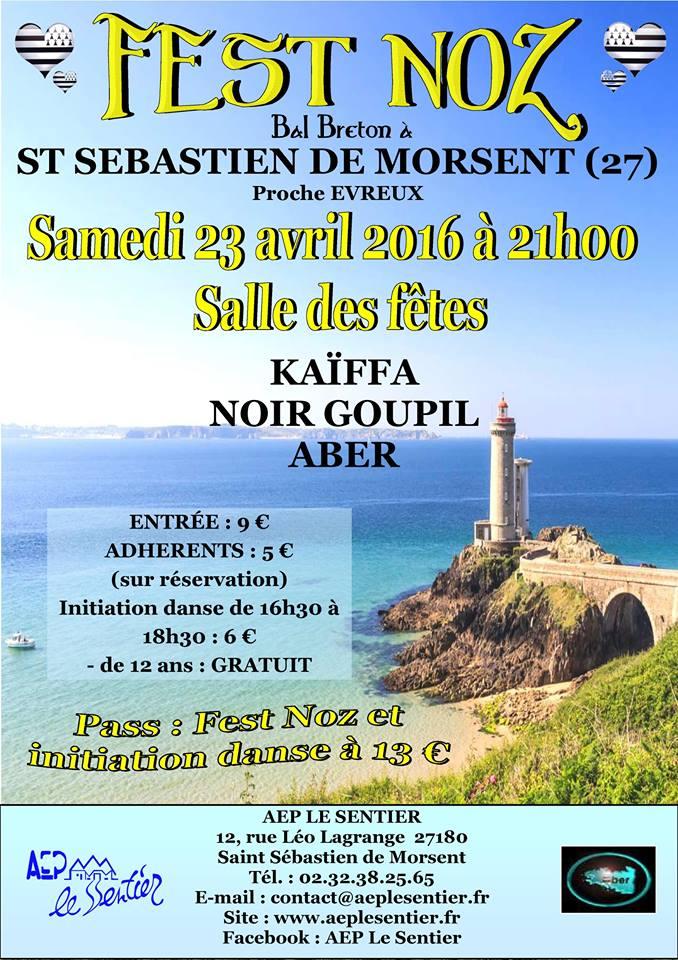Affiche Fest-noz fest-noz 2016 de l'Aber à Saint-Sébastien-de-Morsent