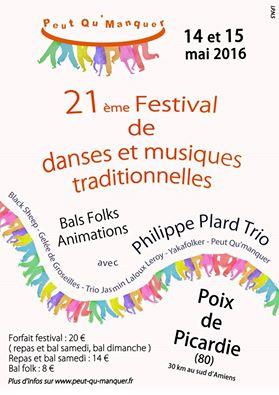 Affiche Bal folk 21ème festival de danses et musiques traditionnelles à Poix-de-Picardie
