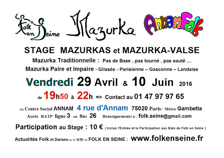Affiche Stage mazurka paires et impaires à Paris