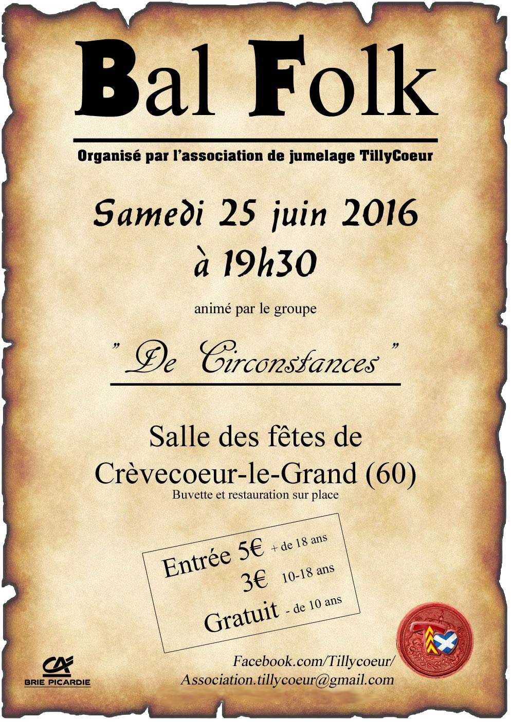 Affiche Bal folk  à Crèvecœur-le-Grand
