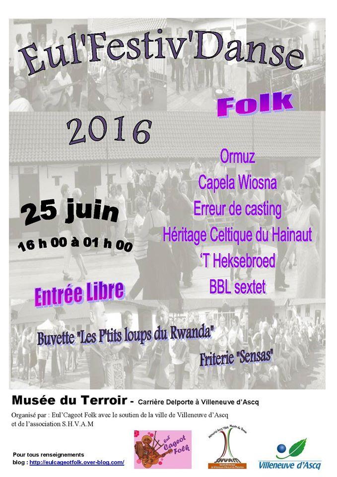 Affiche Festival Eul'Festiv'danse 2016 à Villeneuve-d'Ascq