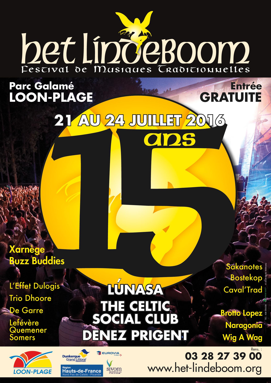 Affiche Festival Het Lindeboom, festival de musiques traditionnelles à Loon-Plage