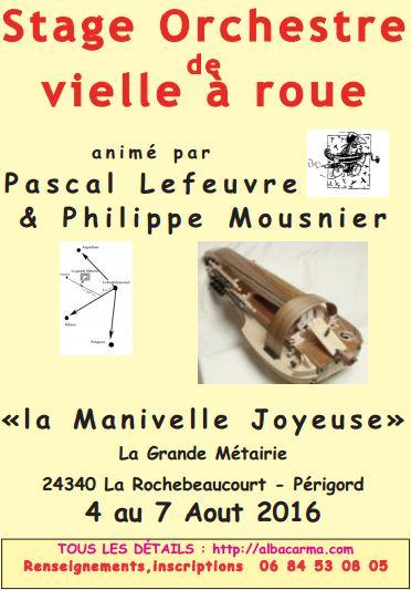 Affiche Stage vielle à roue à La Rochebeaucourt