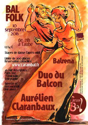 Affiche Bal folk Carambal de septembre 2016 à Paris