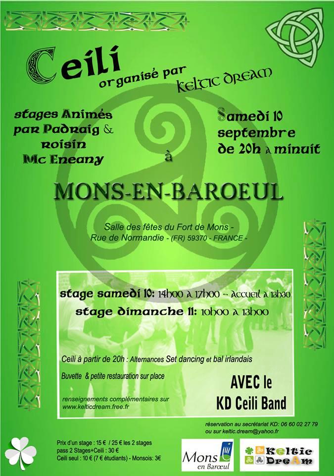 Affiche Céili set dancing et bal irlandais à Mons en Baroeul