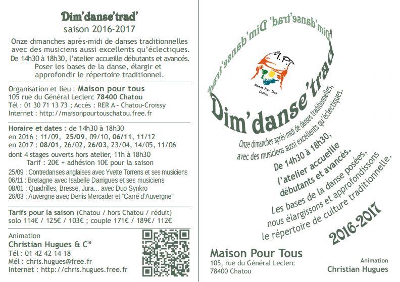 Affiche Atelier annuel Dim'danse'trad', danse traditionnelle un dimanche par mois à Chatou