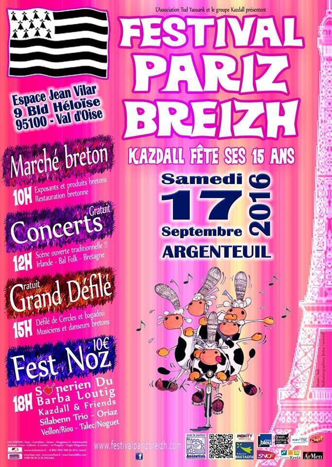 Affiche Fest-noz festival Pariz Breizh à Argenteuil