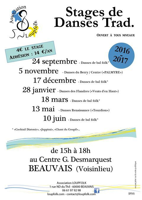 Affiche Atelier stage de danses traditionnelles à Beauvais