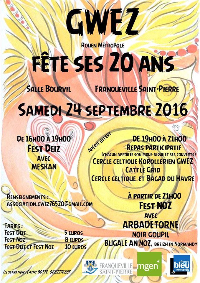 Affiche Fest-noz 20 ans de Gwez à Franqueville-Saint-Pierre