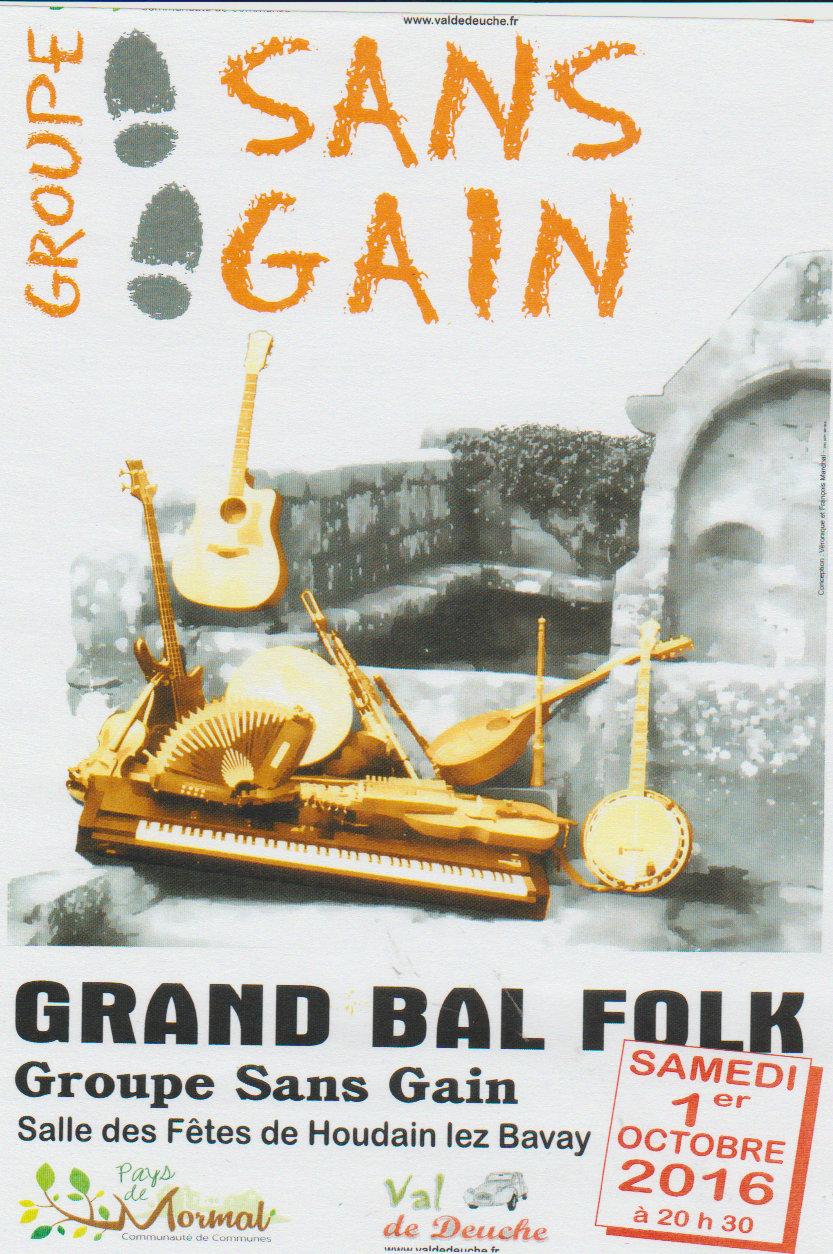 Affiche Bal folk 15ème bougie club Val de Deuche à Houdain-lez-Bavay