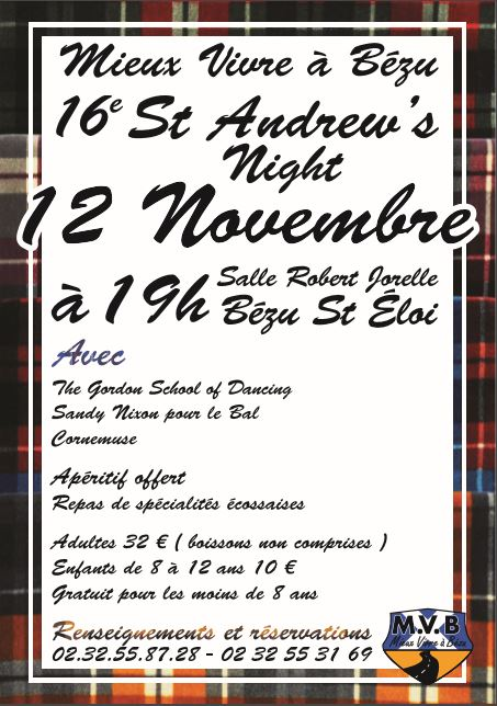 Affiche Spectacle 16ème St Andrew's Night à Bézu Saint-Eloi