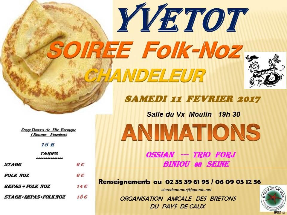 Affiche Bal folk fest-noz soirée chandeleur à Yvetot