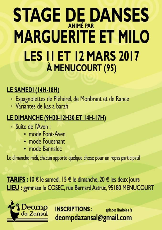 Affiche Stage danses bretonnes à Menucourt