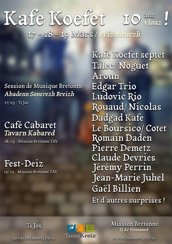Affiche Fest-noz week-end anniversaire des 10 ans du groupe Kafe Koefet à Paris