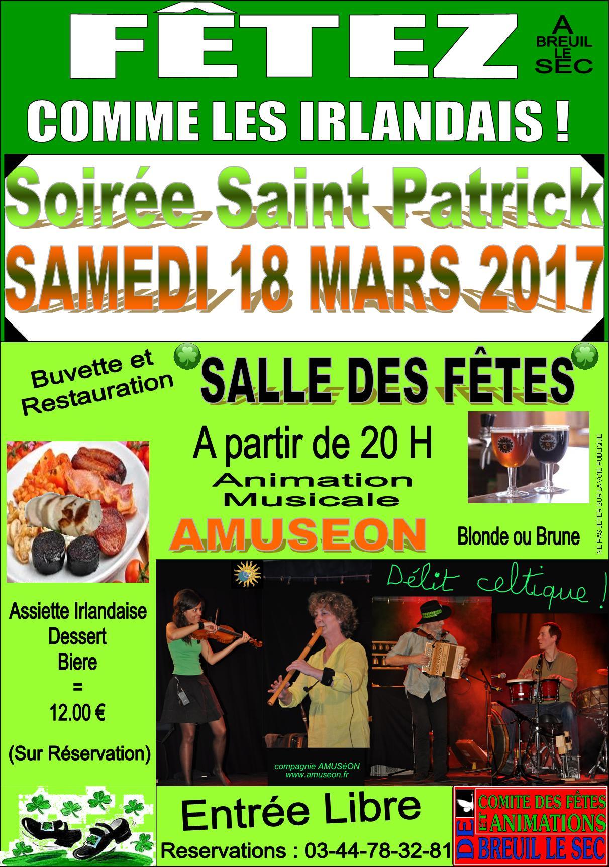 Affiche Animation soirée saint Patrick à Breuil-le-Sec