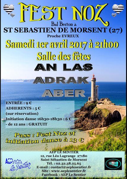 Affiche Fest-noz fest-noz de l'Aber à Saint-Sébastien-de-Morsent