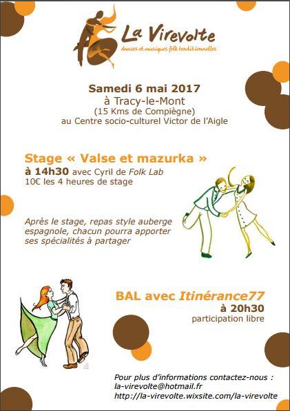 Affiche Stage valse et mazurka à Tracy-le-Mont