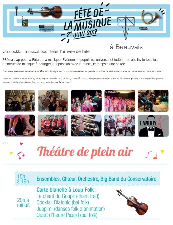 Affiche Bal folk bal folk de la fête de la musique 2017 à Beauvais