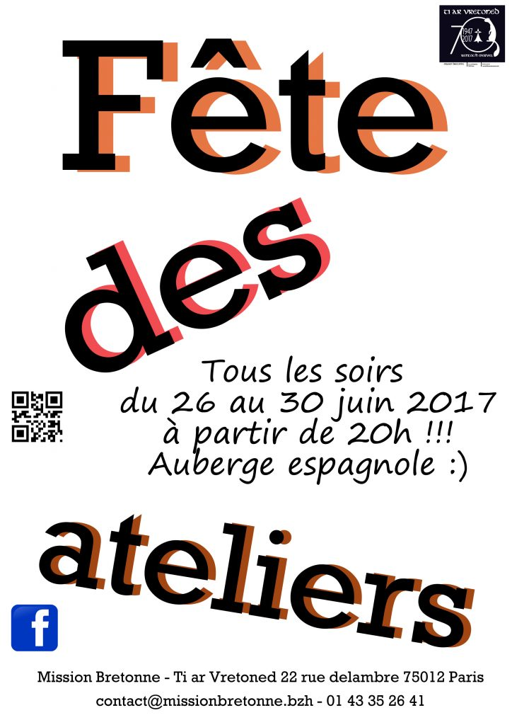 Affiche Autre semaine de fête des ateliers de la Mission Bretonne Ti Ar Vretoned à Paris