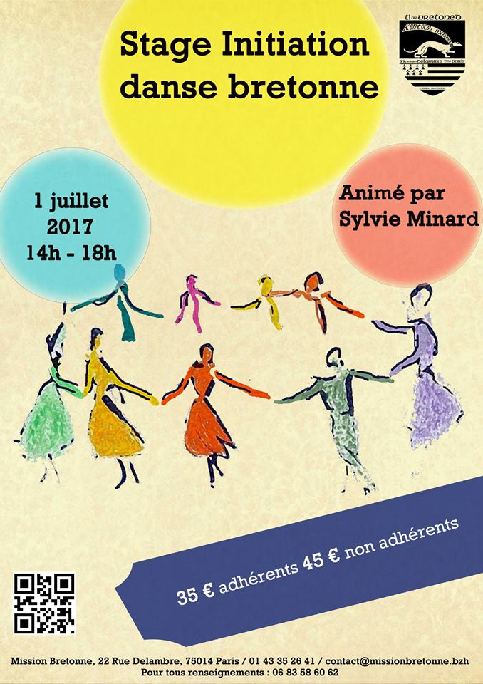 Affiche Stage initiation aux danses bretonnes à Paris