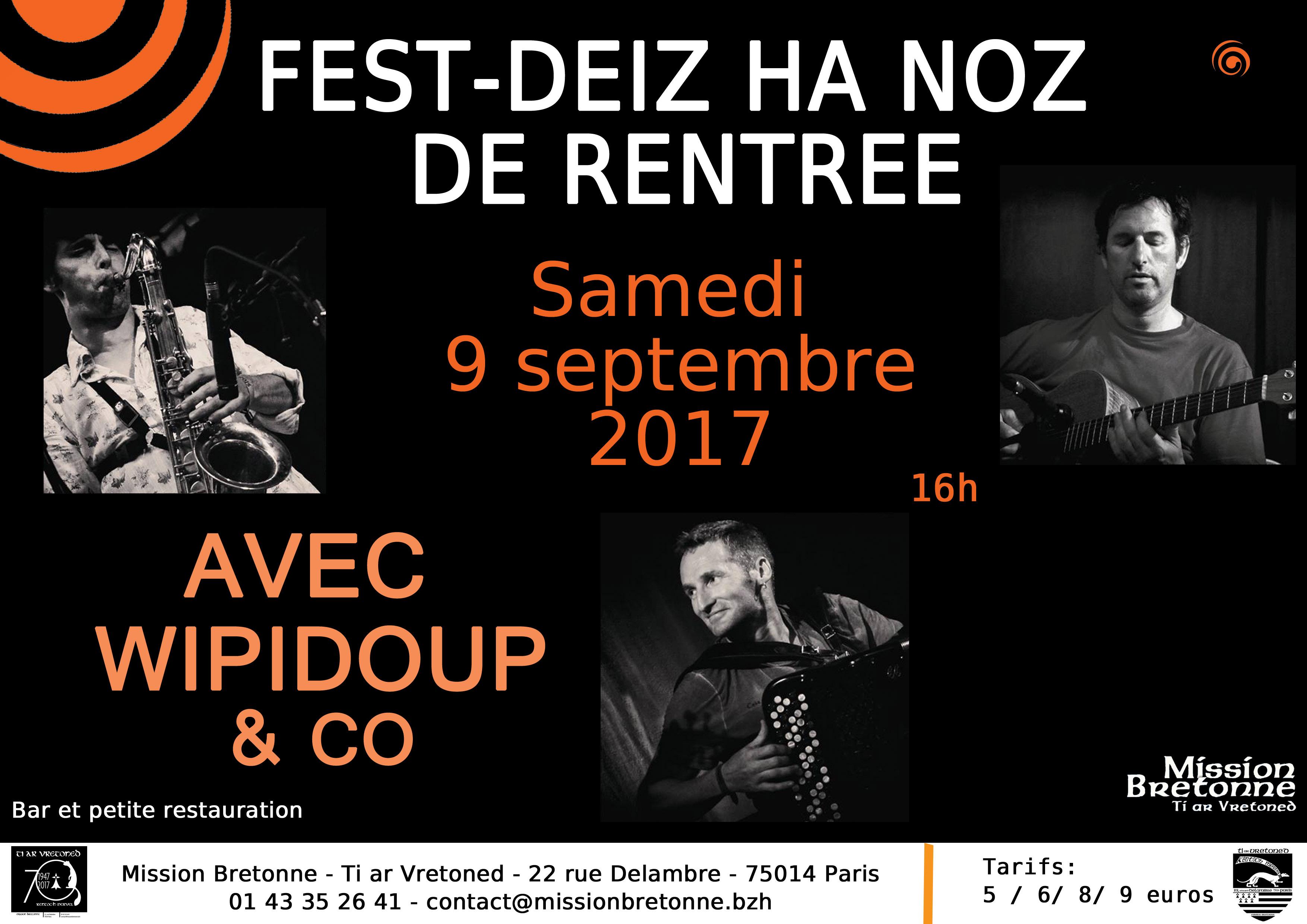 Affiche Fest-noz fest-noz de rentrée de la Mission Bretonne Ti Ar Vretoned à Paris