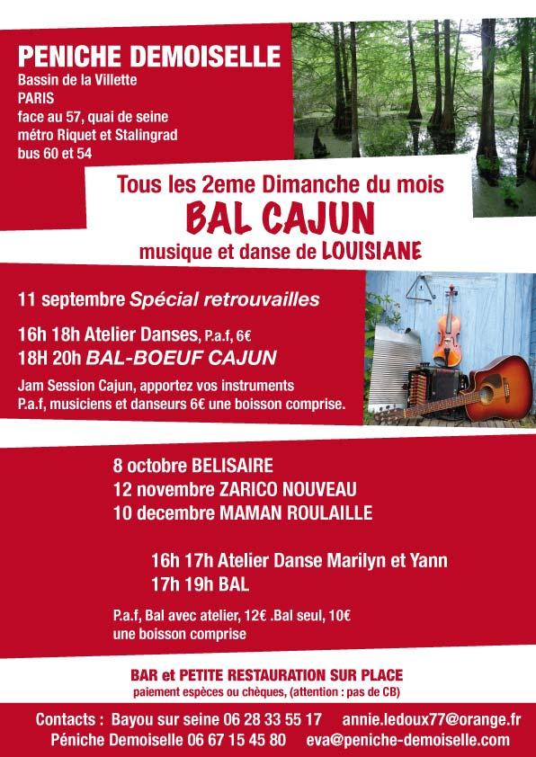 Affiche Atelier annuel danse cajun et zydeco tous les deuxièmes dimanches du mois à Paris