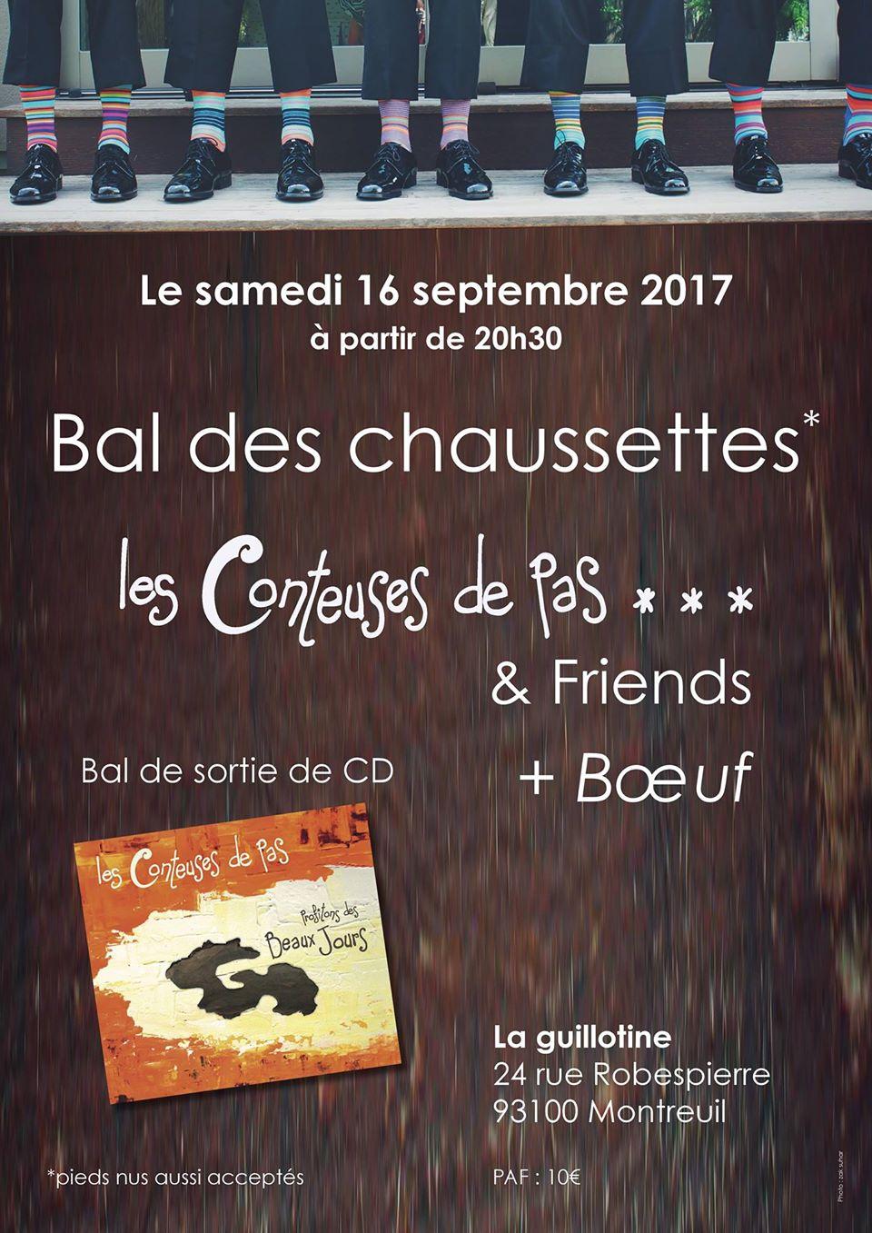 Affiche Bal folk bal des chaussettes, sortie de CD des conteuses de pas à Montreuil