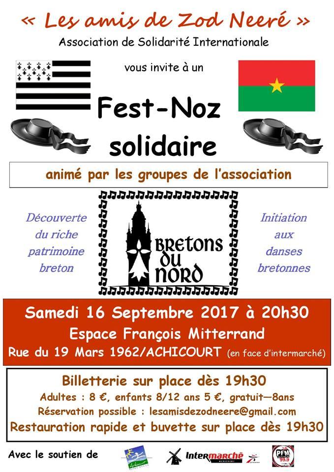 Affiche Fest-noz fest-noz solidaire à Achicourt