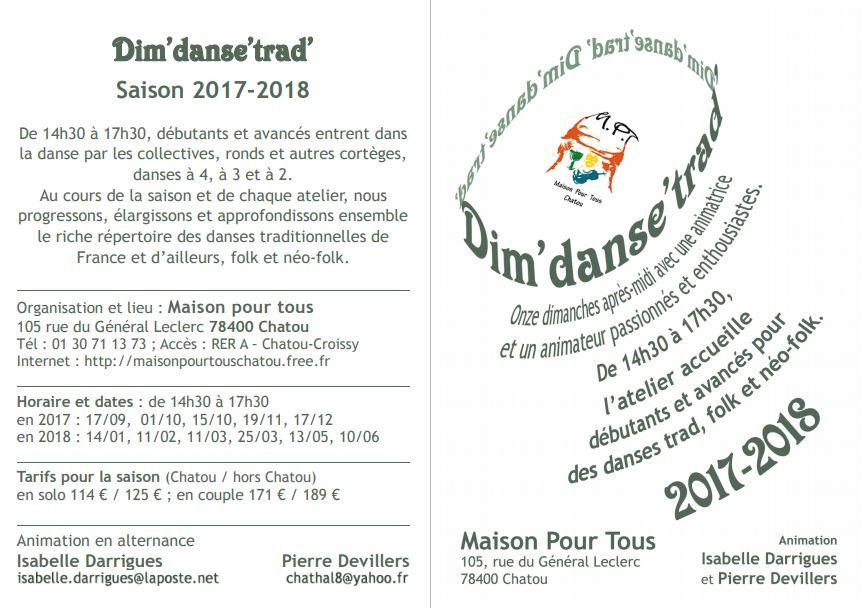 Affiche Atelier annuel danses traditionnelles Dim'danse'trad' 11 dimanches dans l'année à Chatou