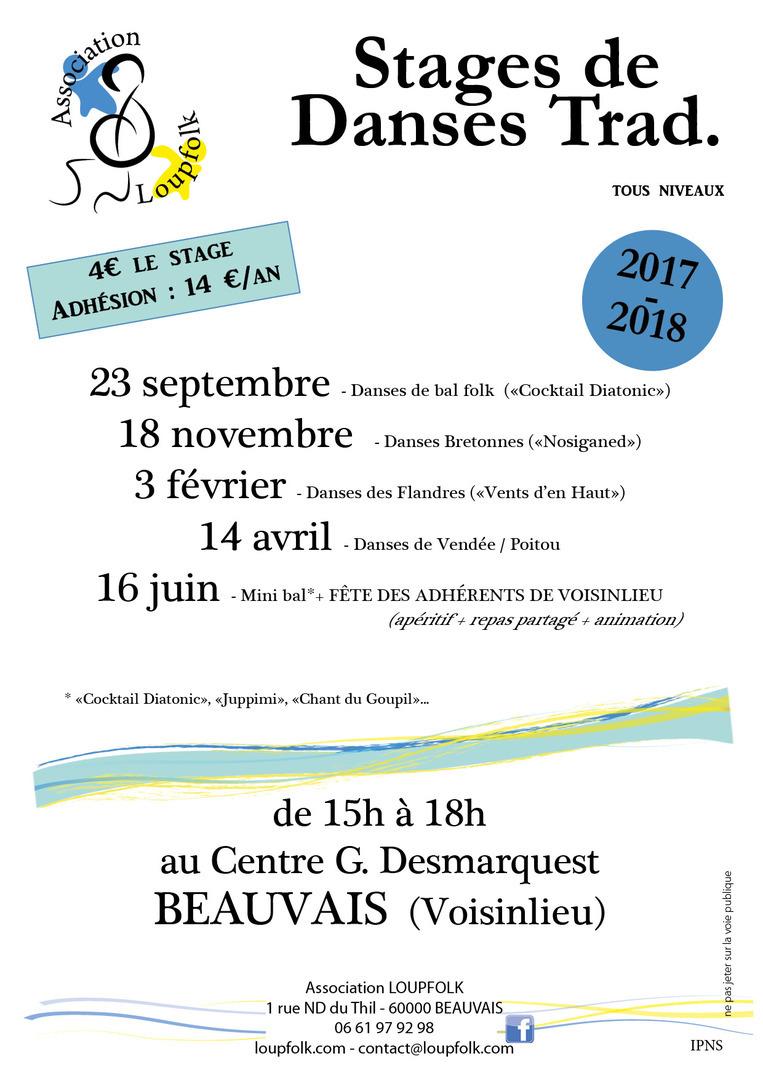 Affiche Atelier stage de danses de Vendée et Poitou à Beauvais