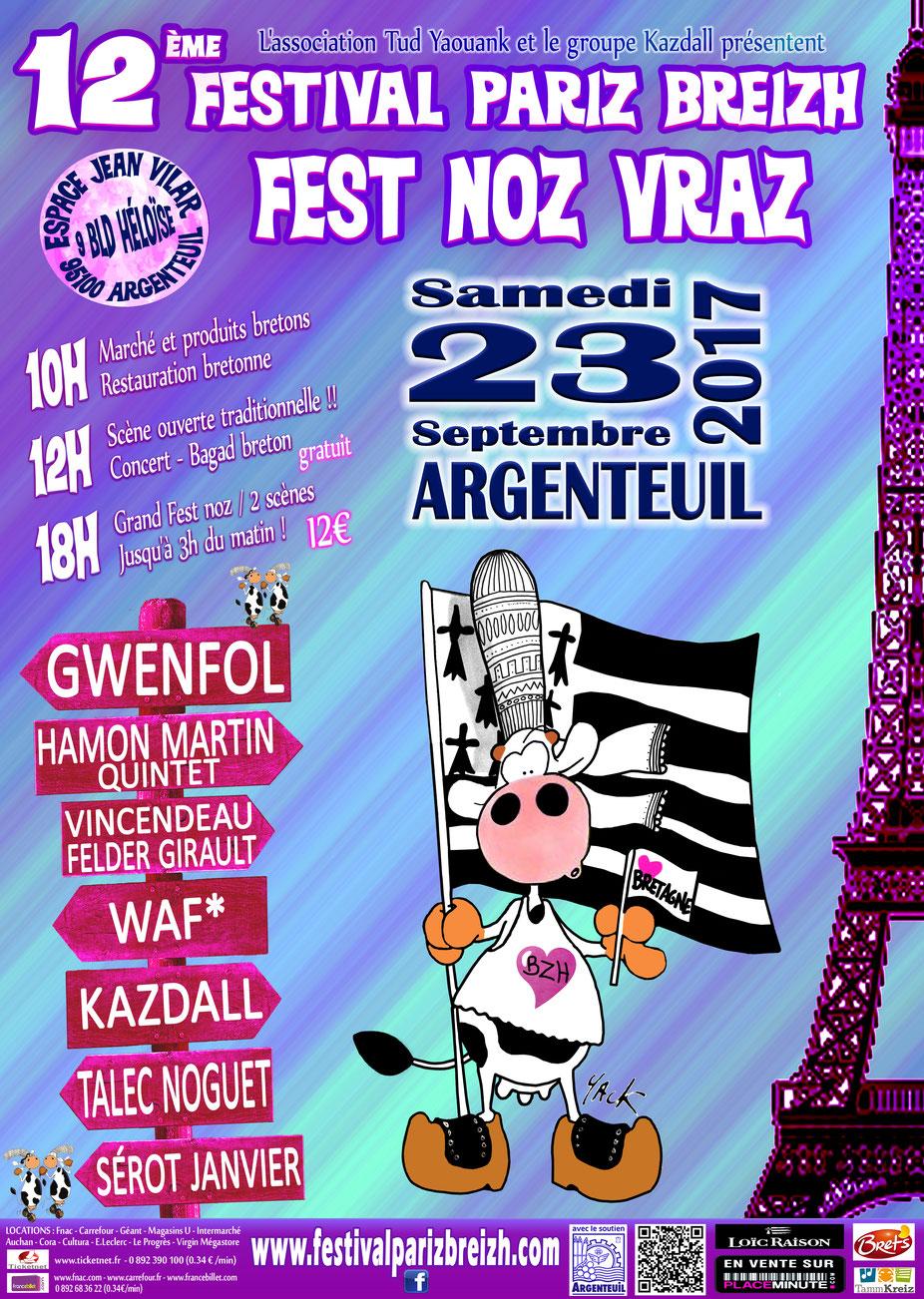 Affiche Fest-noz 12e festival Pariz Breizh à Argenteuil