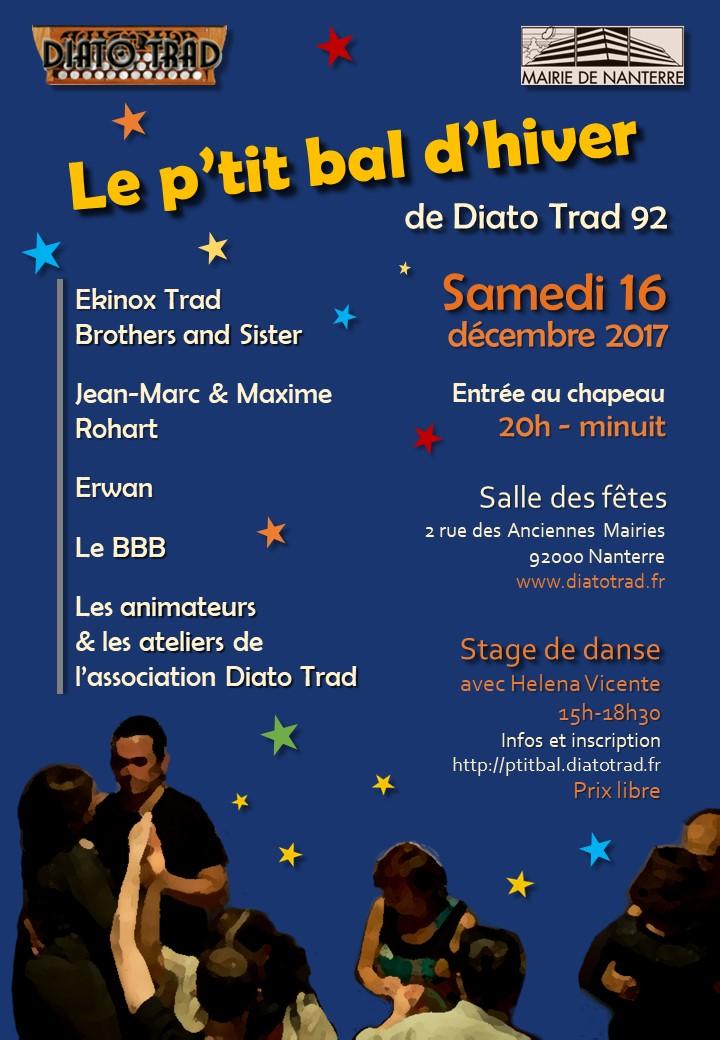 Affiche Bal folk P'tit Bal d'Hiver de Diato Trad + stage à Nanterre