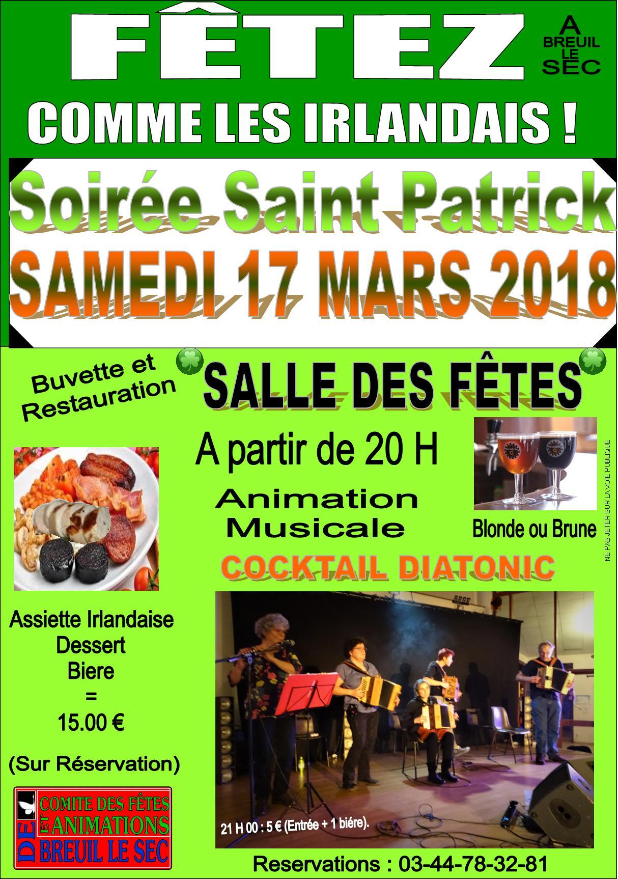 Affiche Spectacle Bal folk et repas de la Saint-Patrick à Breuil-le-Sec
