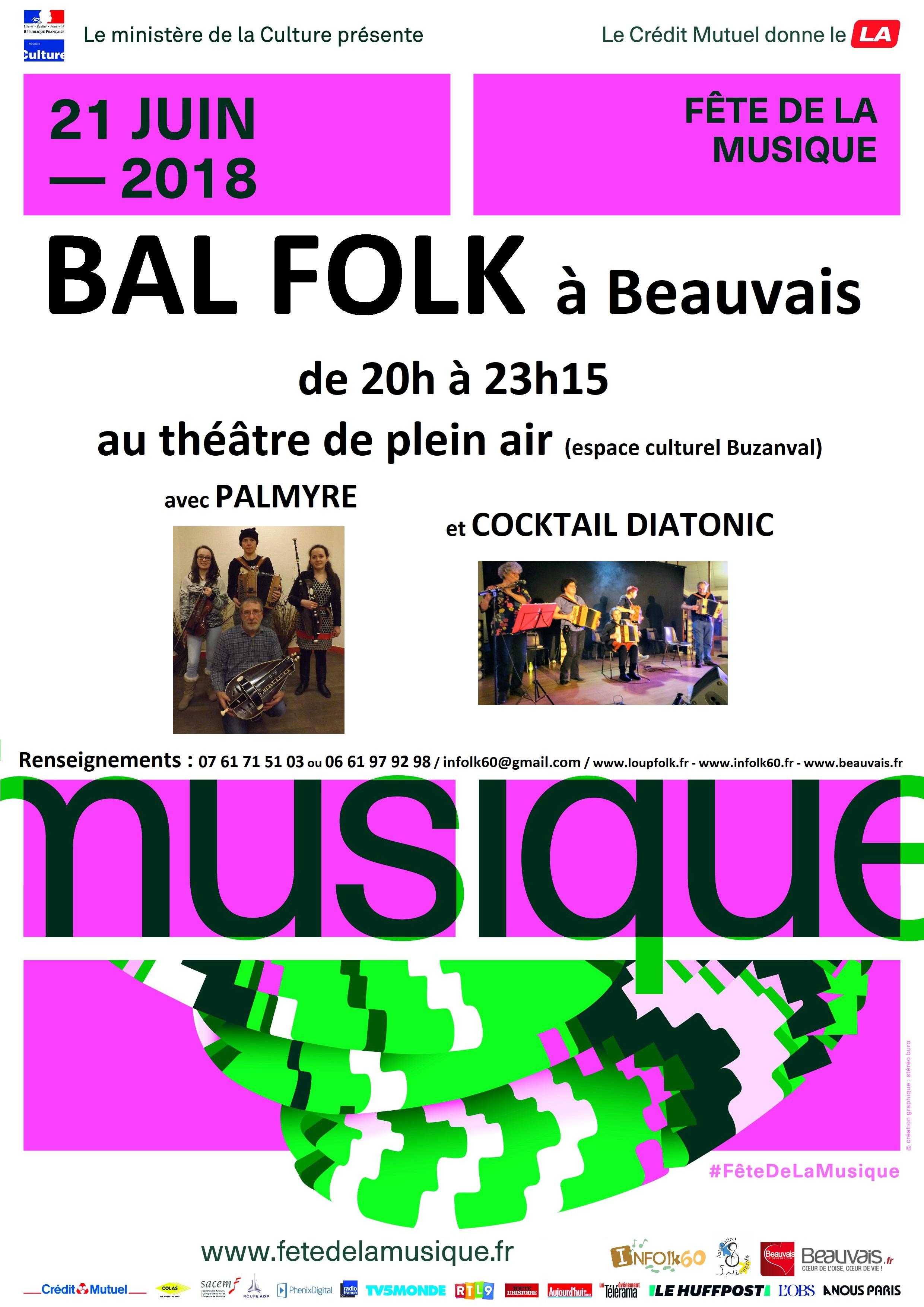 Affiche Bal folk bal folk de la fête de la musique 2018 à Beauvais