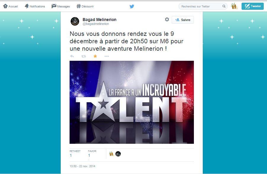 Affiche Autre Melinerion, le bagad de Vannes, à l'émission télé «La France a un incroyable talent» à