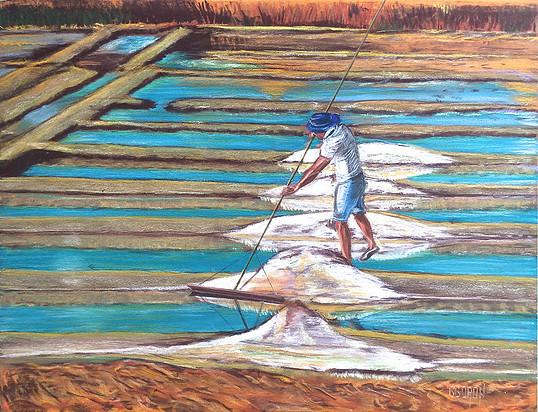 Paysage de marais salants réalisé aux pastels par Gérard Goron Tri Yann